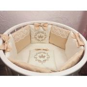 Комплект в круглую (овальную) кроватку АиСт Элит 19 предметов (бежевый)