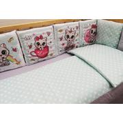 Комплект в круглую (овальную) кроватку АиСт Котята НЕ-118 предметов (мята)