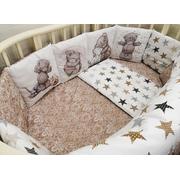 Комплект в круглую (овальную) кроватку АиСт Мишки НЕ-3 18 предметов (бежевый)