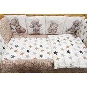 Комплект в кроватку АиСт Мишки НЕ-3 17 предметов (бежевый)