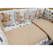 Комплект в кроватку АиСт Зайчата НЕ-2 17 предметов (бежевый)