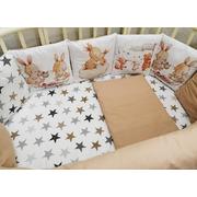 Комплект в круглую (овальную) кроватку АиСт Зайчата НЕ-2 18 предметов (бежевый)