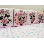 Комплект в круглую (овальную) кроватку ЕНОТИКИ девочки-2 18 предметов (розовый)