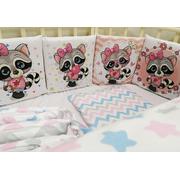 Бортик в кроватку ЕНОТИКИ девочки-2 (розовый)