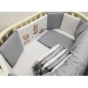 Комплект в круглую (овальную) кроватку Мишки с подушкой 17 предметов (серый)