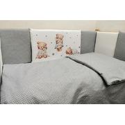 Комплект в кроватку Мишки с подушкой 16 предметов (серый)