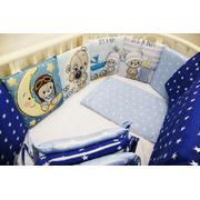 Бортик в кроватку Непоседы мальчики  (синий/голубой)