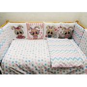 Бортик в кроватку Зайцы-2 (розовый)