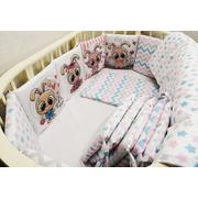 Комплект в круглую (овальную) кроватку Зайцы-2 18 предметов (розовый)