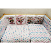 Комплект в кроватку Зайцы-2 17 предметов (розовый)