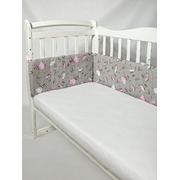 Бортик в детскую кроватку Танцующие балерины (серый/розовый)