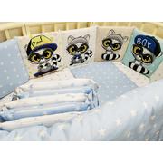 Бортик в кроватку Мальчики ЕНОТЫ-1 (голубой)