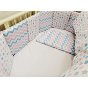 Комплект в круглую (овальную) кроватку Мозаика-19 18 предметов (розовый)