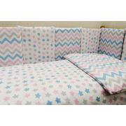 Бортик в детскую кроватку Мозаика-19 (розовый)