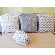 Комплект в круглую (овальную) кроватку Мозаика-27 18 предметов (серый)