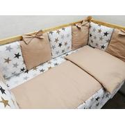 Комплект в кроватку Мозаика с бантиком-2 17 предметов (бежевый)