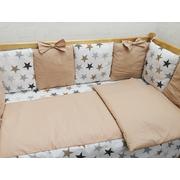 Бортик в детскую кроватку Мозаика с бантиком-2 (бежевый)