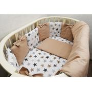 Комплект в круглую (овальную) кроватку Мозаика с бантиком-2 18 предметов (бежевый)