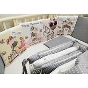 Комплект в круглую (овальную) кроватку Жирафики девочки 18 предметов (серый)