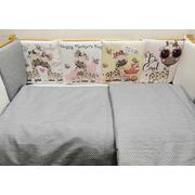 Комплект в кроватку Жирафики девочки 17 предметов (серый)