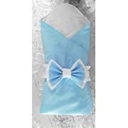 Конверт-одеяло на выписку Горошек (голубой/белый)