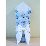 Конверт-одеяло на выписку Мишка BOY (голубой/белый)