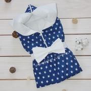 Конверт-одеяло на выписку Звезды на белом (синий)