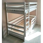 Кроватка домик двухъярусная Для двоих без крыши (белая эмаль)