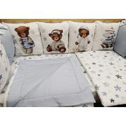 Бортик в детскую кроватку Мишки - сплюшки (голубой)
