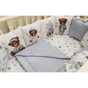 Комплект в круглую (овальную) кроватку Мишки - сплюшки (голубой)